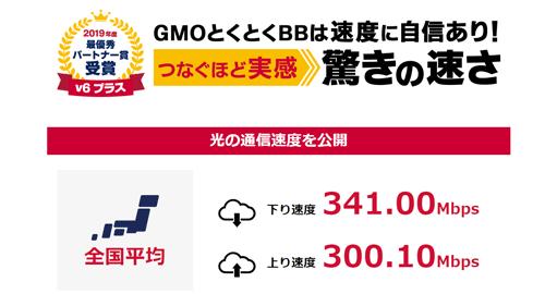 GMOとくとくBB速度平均