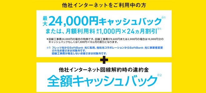 ソフトバンク光は乗り換え新規で最大24,000円キャッシュバック