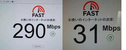 有線と無線のスピードテスト